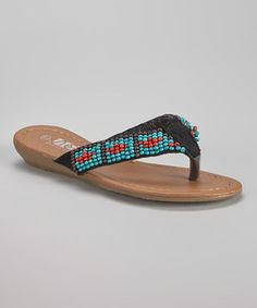 Look at this #zulilyfind! Black Beaded Wedge Sandal by Shoes of Soul #zulilyfinds