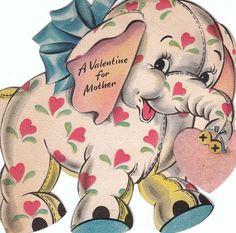 Elephant : Animal Vintage Valentine Card.   suzilove.com