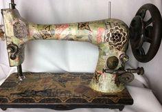 Decoupaged Singer Treadle Antique Sewing Machine
