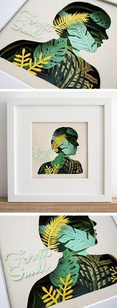 Déco murale - cadre feuillage végétaux en papier découpé - portrait - Colorful paper craft by Chao Zou
