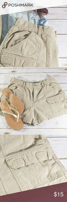 Khaki Short - Linen Feel Get your cargo on or be an adventurer in these comfy khaki shorts.  These remind of an elegant Lara Croft!  Material flows beautifully and makes them different than your average short.  Plus pockets always come in handy in the summer, sunnies, cell phone, snacks, etc...   ??  ------NEW TO POSHMARK?? Download the APP and save $5 on your first purchase.? Use code GTYLZ-----  PLEASE BUNDLE!? My closet is priced for bundling!? Save 20% on bundles of 3 or more! Shorts