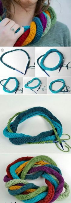 Unusual knit scarf or how to use it - plete .- Ungewöhnlicher Strickschal oder wie man ihn benutzt – pleteníčko – … Unusual knit scarf or how to use it – pleteníčko – … – Knit – - Chunky Knitting Patterns, Knitting Kits, Loom Knitting, Knitting Stitches, Free Knitting, Knitting Projects, Crochet Patterns, Knitting Ideas, Crochet Ideas