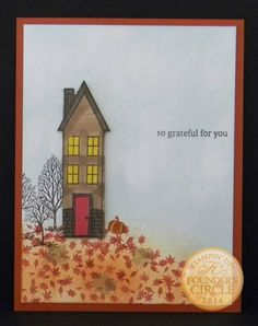 With some sponging, you too can also have a house from the Stampin' Up! Holiday Home Stamp Set on a leaf covered hill. Which came first - the sponging or stamping of the leaves? Not sure what th...
