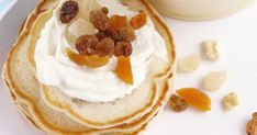 These sweet pikelets can be served with chopped dried fruit and ricotta cheese. Pikelet Recipe, Sifted Flour, Picnic Foods, Vanilla Essence, Dried Fruit, Ricotta, Sweet Treats, Cheese, Canning