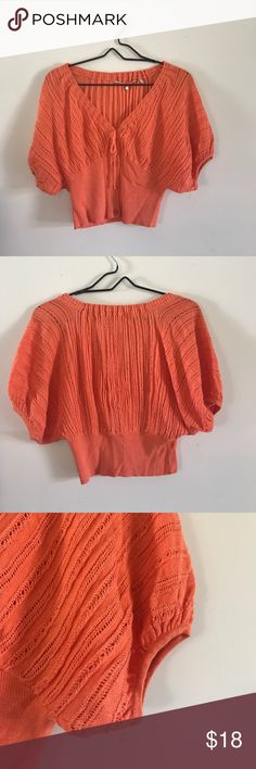 Selling this Anthropology Orange Knit Crop Top on Poshmark! My username is: jcabebe. #shopmycloset #poshmark #fashion #shopping #style #forsale #Anthropologie #Tops