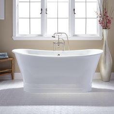 "67"" Myra Acrylic Double-Slipper Pedestal Tub - Bathtubs - Bathroom"