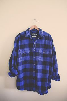 Vintage Buffalo Plaid Flannel Blue Black  Men's Hipster Thick Cozy Northwest Seattle Portland Style Preppy Size Men's XL Extra Large Tall by 7CitiesVintage on Etsy