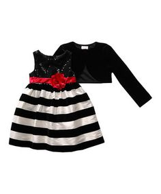 Look at this #zulilyfind! Red & Black Stripe Bow Dress & Bolero - Toddler & Girls by Sweet Heart Rose #zulilyfinds