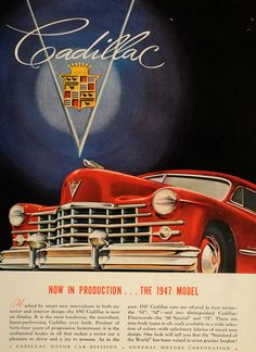 1947 Ad Red Cadillac Luxury Automobile 61 62 Fleetwood - ORIGINAL ADVERTISING #vintagecadillac #cadillac