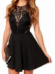Shop Black Sheer Lace Panel Sleeveless A-line Dress from choies.com .Free shipping Worldwide.$9.9
