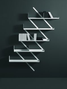 Wall-mounted steel #bookcase BOOXX + MINIBOOXX by Desalto | #design Denis Santachiara #books