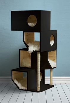Where ever you prefer to shop for your cat, you can find the perfect type of modern cat furniture to … Cat House Diy, House For Cats, Kitty House, Cat Tree House, Diy Cat Tree, Cat Trees Diy Easy, Wooden Cat Tree, Wooden Cat House, Cardboard Cat House
