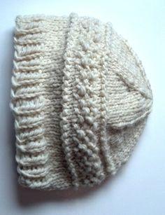 White Wool Hand Spun Hand Knit Winter Hat for Men or Women   joysazplace - Accessories on ArtFire