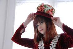 Vintage red velvet hat white floral ladies by RoseleinRarities