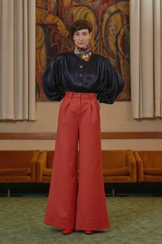 KOKI - gathered satin shirt with IPARTERV - high waisted palazzo trousers Palazzo Trousers, Satin Shirt, Vintage Fashion Photography, Women Wear, Contemporary, Pants, Shirts, Collection, Black