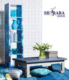 Wooden table with special finishing , art wood , blue decoration