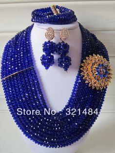 Nigerian Wedding African Beads Jewelry Set Royal Blue Crystal Jewelry Set Necklace Bracelet and Clip Earrings CRB-191 $68.98