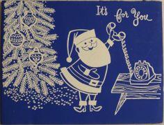 #320 50s Mechanical Mid Century Santa & Phone-Vintage Christmas Greeting Card