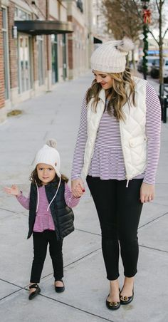 the cutest mommy and me winter outfit idea - I love those matching beanies!   3e16b3f96a3