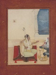 Tagore, Abanindranath (1871 - 1951). Siva-puja. Bengal, ca. 1900, ...  She is dressed in a pale green and white sari seated on an animal skin placed on a low red charpoi. With her right hand she holds a tambura and with the her left she salutes a large black linga (repres. Shiva) decked with red and white flowers. The night sky with a crescent moon ... . This subject may repres. the Ragini Bhairavi of the Raga Bhairava, a piece of music played at dawn in the months of September - October…