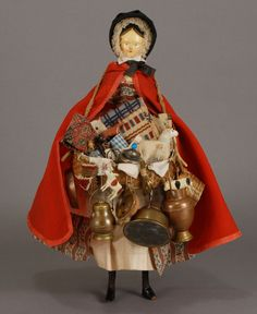 Circa 1840's  wooden Grodner Tal doll dressed as English peddler .
