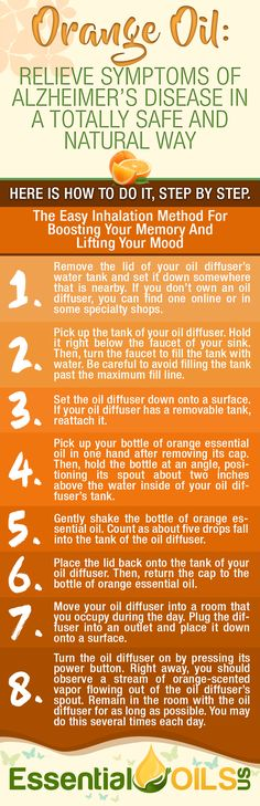 Orange essential oil relieve symptoms of alzheimer's disease in a totally safe and natural way. Take advantage of this easy inhalation method for boosting your memory and lifting your mood.