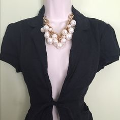 Black tie front blazer jacket Super cute black tie front blazer by Willi Smith. Looks cute with cropped pinstripe pants and ballet flats. Size Medium. Willi Smith Jackets & Coats Blazers