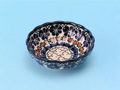 Polish Pottery: 023 ~ Bowl ~ Scalloped ~ Dessertbr854a Primrose br1.5H X 4.5W