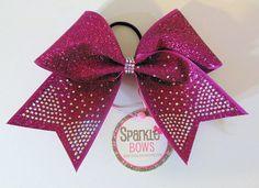 Fuchsia Pink Glitter Rhinestone Tails Cheer por SparkleBowsCheer