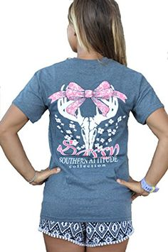Southern Attitude Dogwood Sassy Heather Gray Bow Tie Deer Skull Preppy Short Sleeve Tee Shirt (X-Large)