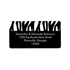 Black and White Modernist Stripe Personalized Address Label