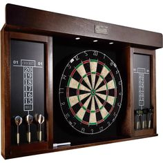 Built-in LED lights provide a professional atmosphere while playing. Barrington Dartboard Cabinet With Led Light Removable steel number ring increases the durability of dartboard. Accessories included: 6 darts and 1 marker with eraser. Dart Board Led, Dart Board Backboard, Electronic Dart Board, Dart Board Cabinet, Darts Game, Dart Set, Light Games, Marker, Basement Remodeling