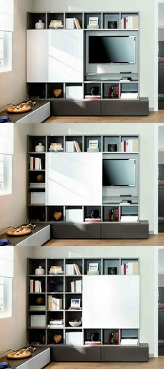 63 ideas wall shelves living room next to tv for 2019 Room, Home Living Room, Bedroom Design, Home Decor, Wall Shelves Living Room, Home Deco, Interior Design, Hidden Tv Bedroom, Home Decor Furniture