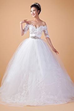 Ball Gown Off the Shoulder Natural Court Train 3/4 Length Sleeve Appliques Lace-up Satin
