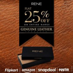 Flat 25% off on entire range of RENE Genuine Leather Products at Amazon, Flipkart, Paytm & snapdeal !!