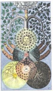 Tree of dark and light from Valentine Weigel Studium Universale, 1695.