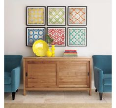 blue and yellow, with bright splashes of color in the frames, repeated in the books