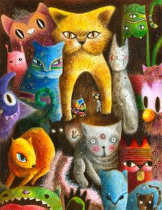 Amazing and Colorful Paintings by May Ann by ErinFist Illustrations, Illustration Art, Art Fantaisiste, Cat Posters, Cat Colors, Colorful Paintings, Cat Paintings, Cat Drawing, Whimsical Art