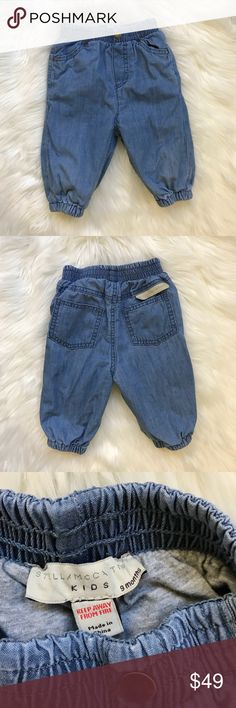 Fully Lined Baby Jean Joggers Stella McCartney trousers jean joggers  Two front slip pockets; two back welt pockets Elasticized waist band and ankle cuffs. Fully Lined  Relaxed fit. Organic cotton. Imported. Gently used condition as pictured Stella McCartney Kids Bottoms Jeans