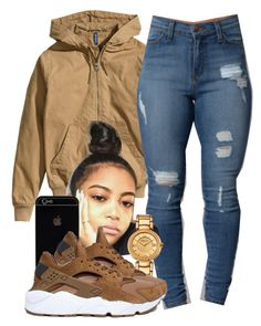 """""""Sylvie Finesse"""" by trillest-fashion on Polyvore featuring H&M, Versace and NIKE"""