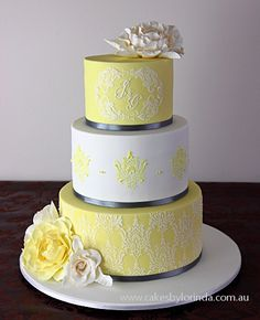 Yellow and Gray Damask Wedding Cake by Temeraire, via Flickr