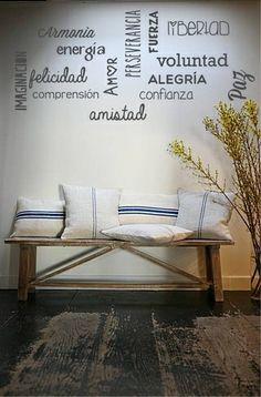 Vinilos decorativos palabras cruzadas living dormitorio local