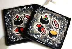 Sushi Ceramic Coasters or Wall Art Set of TWO in Black by surly, $48.00