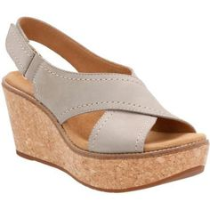 Women's Clarks Aisley Tulip Wedge Sandal - have these in Sand