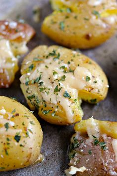 Parmesan Smashed Potatoes can also have garlic added to them. So good!