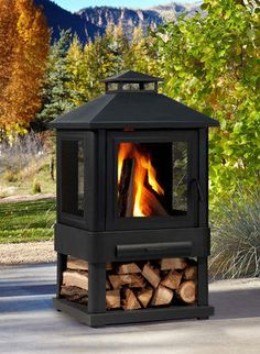 Trestle Wood-Burning Fire Pit - The extra space under it to hold wood is fantastic & convenient!