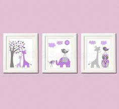 Purple and grey Nursery Art Print Set, 8x10, Kids room Decor,- lilac, lavender, purple and grey, elephant, giraffe, love birds,tree via Etsy