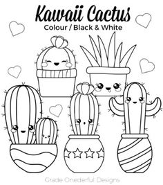 Calligraphy Discover Kawaii Cactus Clipart CU Okay Kawaii Cactus Clipart: Color Black and White Cactus Paper Unicorn Coloring Pages, Cute Coloring Pages, Doodle Coloring, Coloring Books, Kawaii Doodles, Cute Doodles, Cactus Clipart, Cactus Drawing, Cute Doodle Art