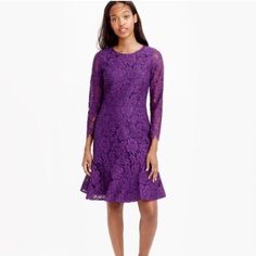 NWT J. Crew Lace Dress Beautiful, BRAND NEW WITH TAGS lace dress from J. Crew. Fully lined except for unlined sleeves. Back zipper closure. Long sleeved. Hits above knee. Lovely deep purple color. Perfect for wedding season!! Size 4- fits true to size. J. Crew Dresses