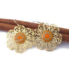 Gols Dangle Earrings Lace Earring Orange & By SigalitAlcalai Lace Earrings, Flower Earrings, Dangle Earrings, Orange And Turquoise, Gold Lace, Lace Flowers, Dangles, Etsy, Colorful